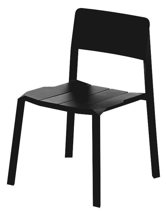 Mobilier - Chaises, fauteuils de salle à manger - Chaise empilable Tri tube / Aluminium - Spécimen Editions - Noir - Aluminium laqué époxy