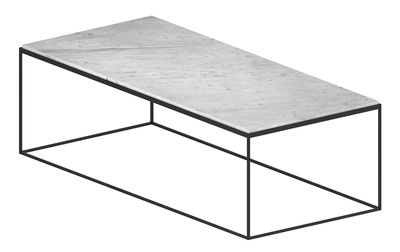 Furniture - Coffee Tables - Slim Marbre Coffee table - 118 x 53 x H 36 cm by Zeus - White marble - Carrare marble, Epoxy painted steel