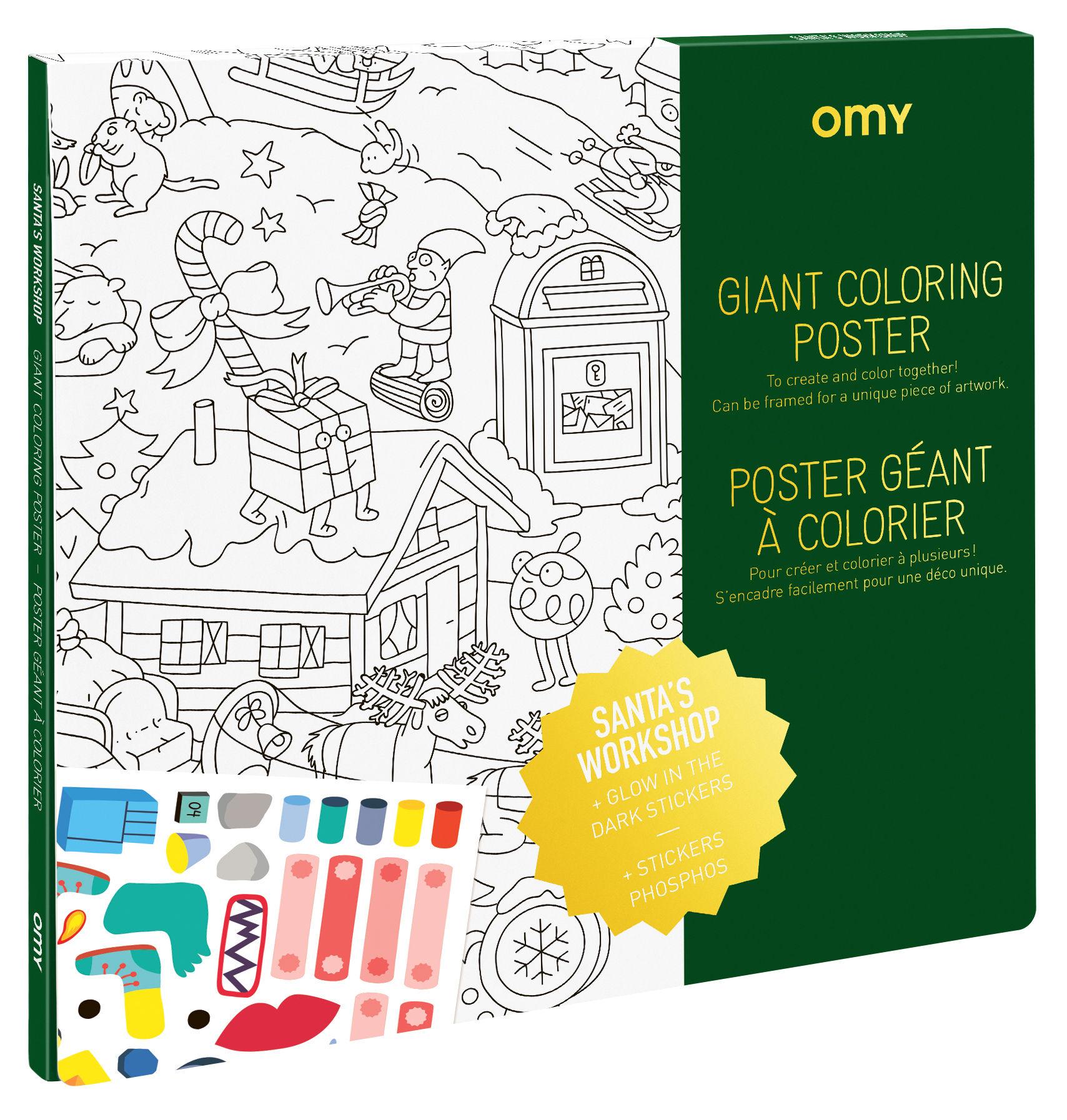 Decoration - Children's Home Accessories - L'atelier du Père-Noël Colouring poster - / 100 x 70 cm – With phosphorescent stickers by OMY Design & Play - Christmas workshop - Papier recyclé