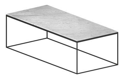 Slim Marbre Couchtisch / 118 x 53 x H 36 cm - Zeus - Weiß,Kupfer-Schwarz
