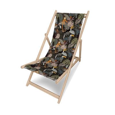 Outdoor - Sun Loungers & Hammocks - Mendoza Deckchair - / Without armrests by PÔDEVACHE - Monkeys & toucans / Multicoloured - Eucalyptus wood, Polyester cloth