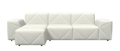Möbel - Sofas - BFF Ecksofa / L 264 cm - Moooi - Weiß gescheckt - Gewebe, Holz, Schaumstoff