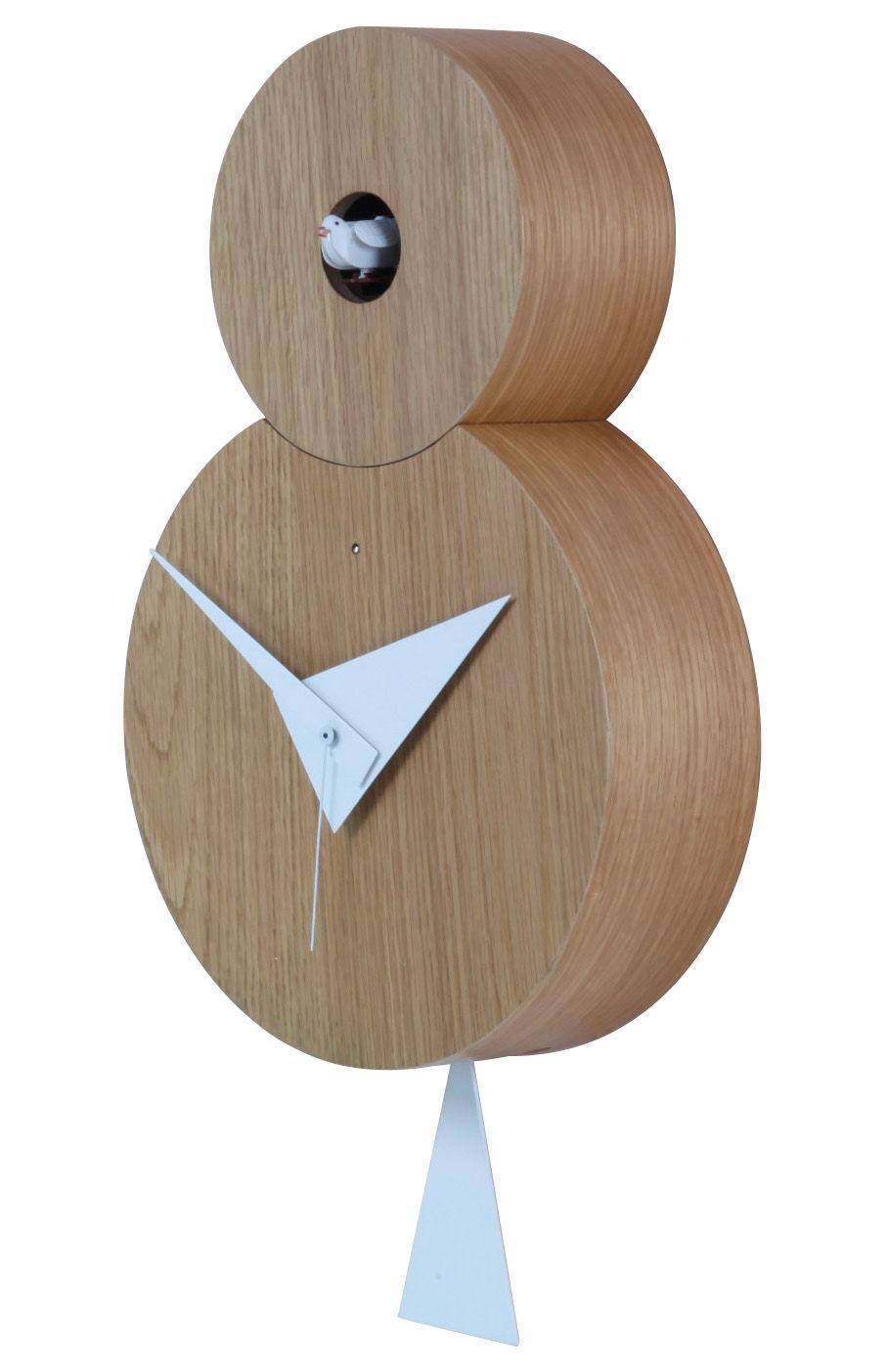 Déco - Horloges  - Horloge murale Otto à coucou / H 38,5 cm - Diamantini & Domeniconi - Chêne naturel - Coucou, pendule & aiguilles blancs - Chêne naturel
