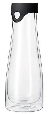 Tischkultur - Einfach praktisch - Primo Karaffe 1 l - thermoisolierend - mit Ausgießer/Deckel - Leonardo - Transparent / Verschluss schwarz - Glas, Silikon