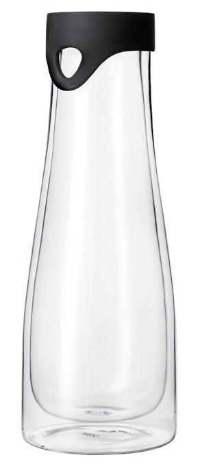 Küche - Einfach praktisch - Primo Karaffe 1 l - thermoisolierend - mit Ausgießer/Deckel - Leonardo - Transparent / Verschluss schwarz - Glas, Silikon