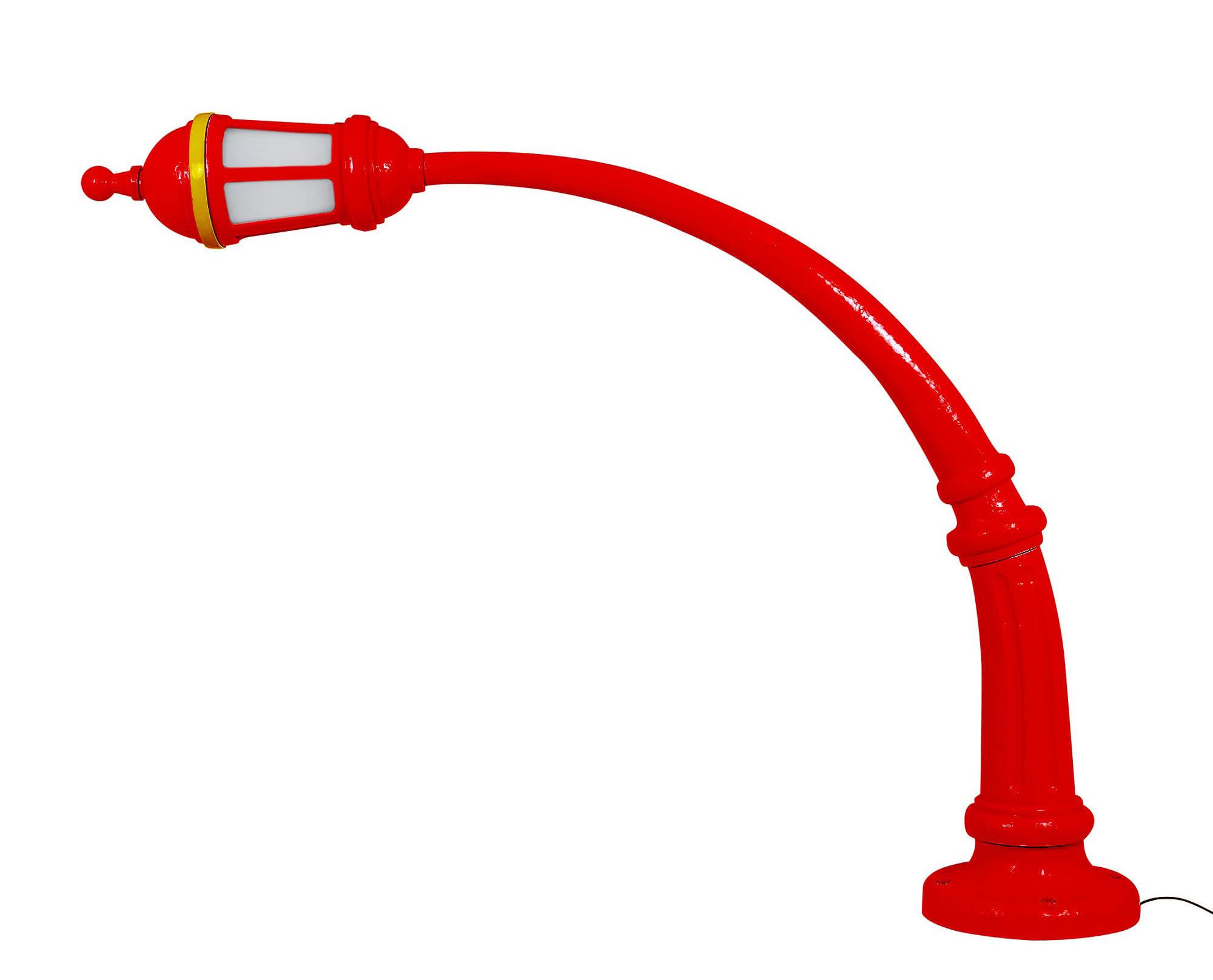 Illuminazione - Illuminazione da esterni - Lampada a stelo Street Lamp Outdoor - / Resina - L 242 x H 190 cm di Seletti - Rosso - Acrilico, Cemento, Resina