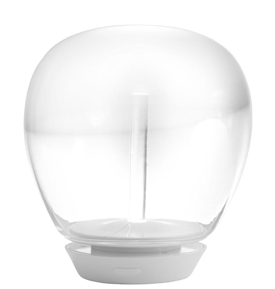 Luminaire - Lampes de table - Lampe de table Empatia LED / Ø 26 cm - Artemide - Ø 26 cm / Transparent & blanc - Aluminium verni, Méthacrylate, Verre soufflé