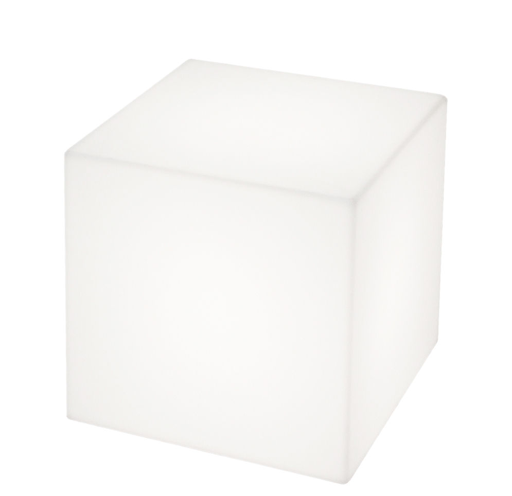 Furniture - Coffee Tables - Cubo Indoor luminous coffee table - / 43 cm - With cable by Slide - White - recyclable polyethylene