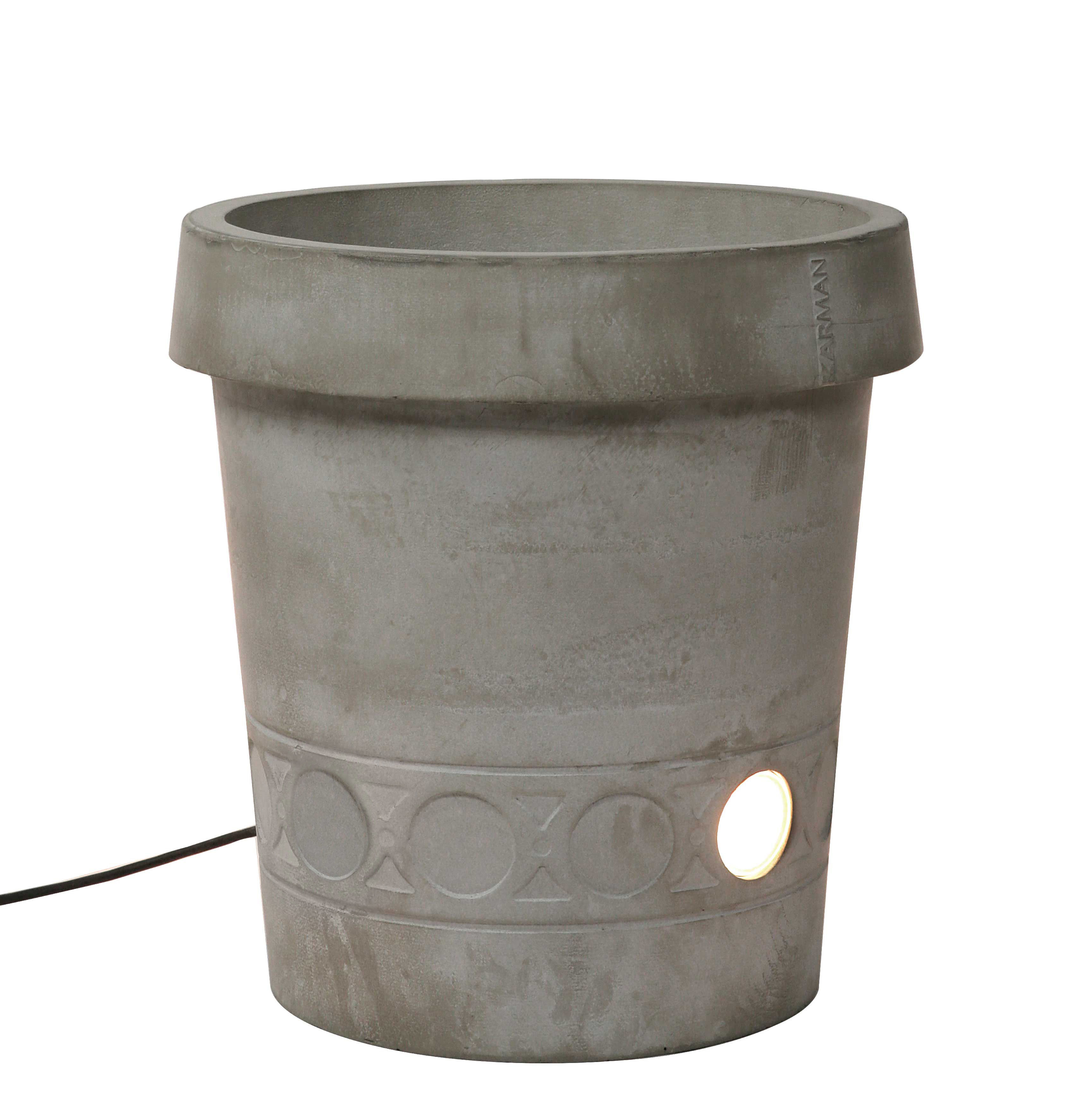 Lighting - Outdoor Lighting - Gervaso LED Luminous flowerpot - LED - Concrete - H 45 cm by Karman - Grey - concrete