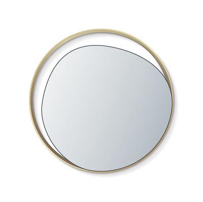 Déco - Miroirs - Miroir mural Ellipse / Ø 50 cm - RED Edition - Miroir argent / Laiton - Bois, Laiton, Verre