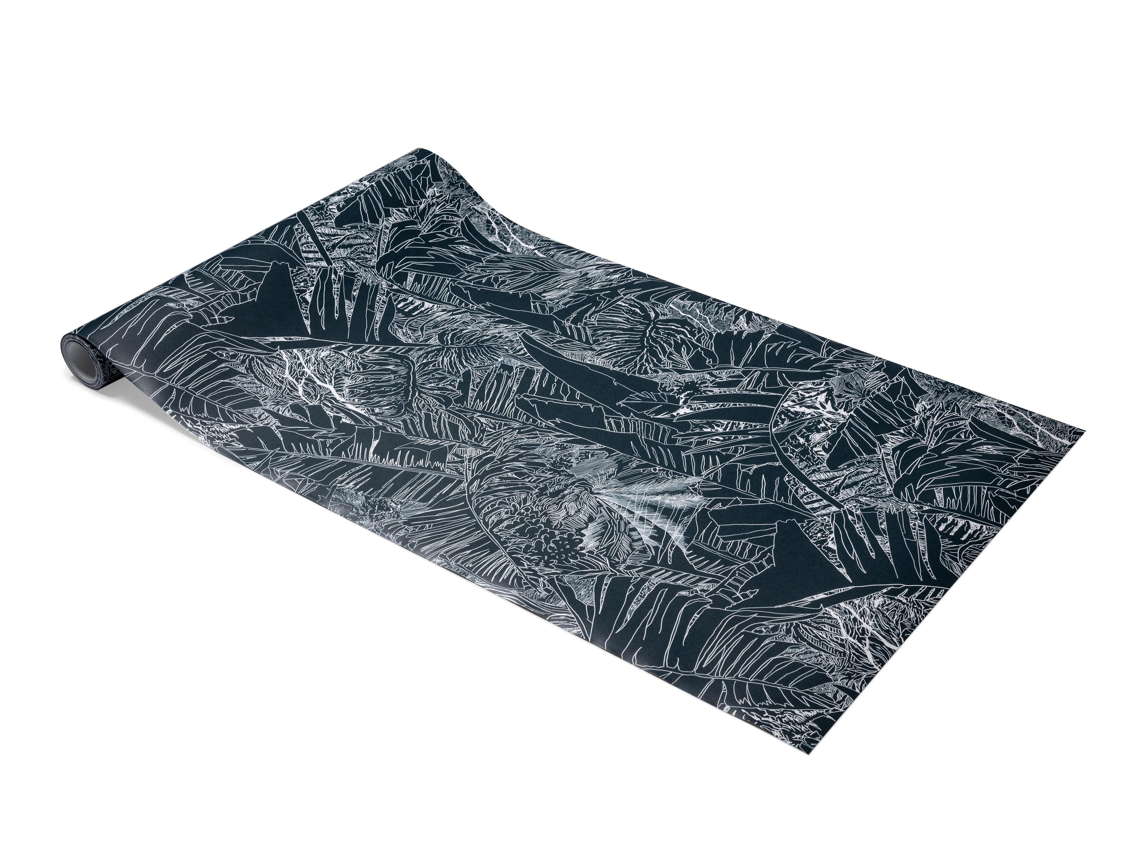 Déco - Stickers, papiers peints & posters - Papier peint Jungle / 1 rouleau - larg 70 cm - Petite Friture - Blanc / Fond noir - Papier intissé
