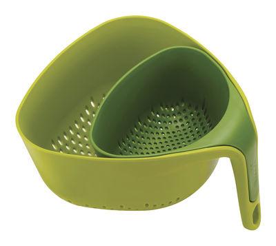 Passoire Nest / Set de 2 - Empilables - Joseph Joseph vert en matière plastique
