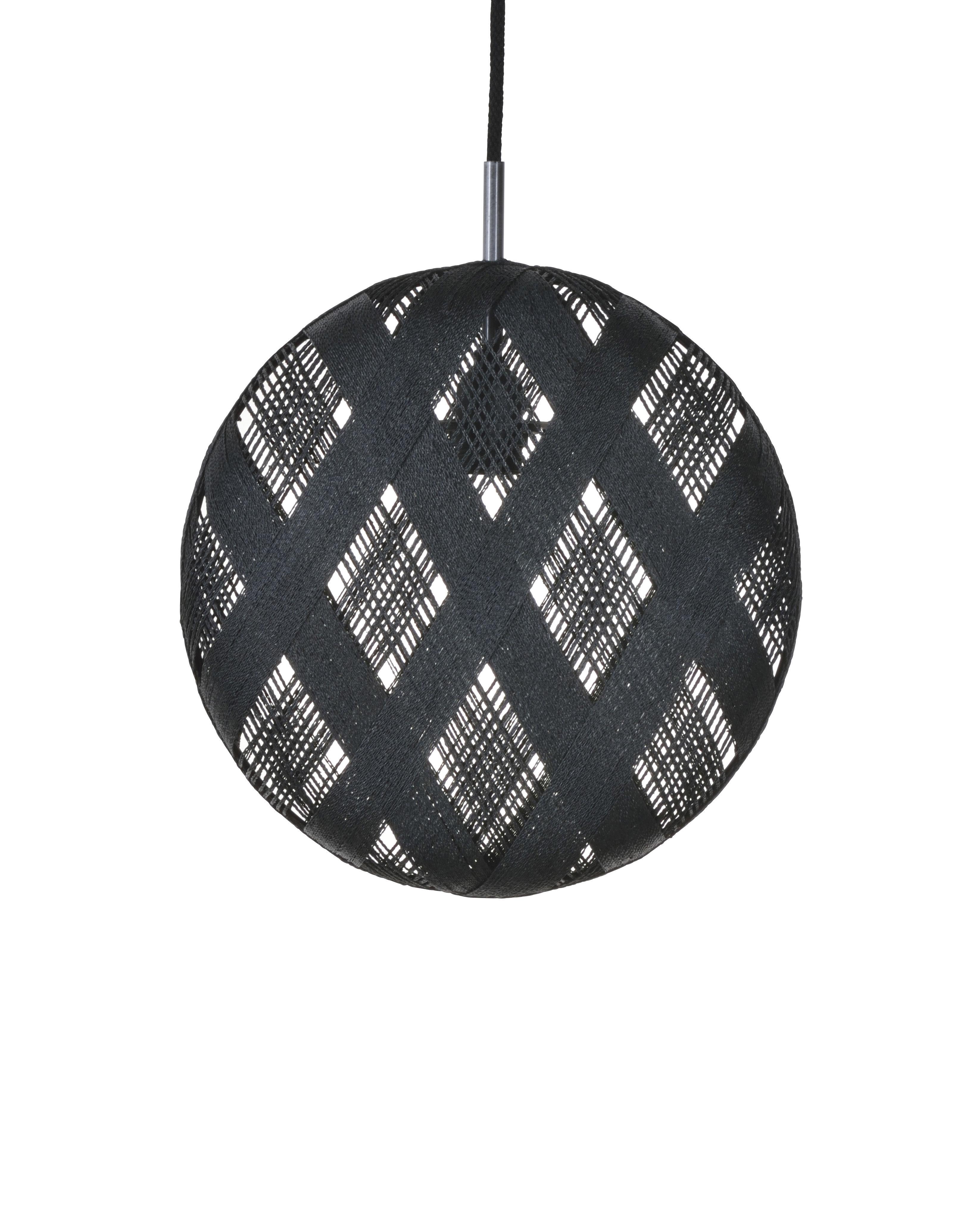 Lighting - Pendant Lighting - Chanpen Diamond Pendant - Ø 36 cm by Forestier - Black / Diamond patterns - Woven acaba