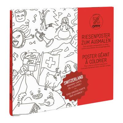 Poster à colorier Suisse / 100 x 70 cm - OMY Design & Play blanc/noir en papier