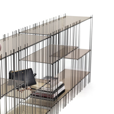 Image of Scaffale Set de 6 étagères - per struttura Metrica Wall A di Mogg - Marrone/Trasparente - Vetro