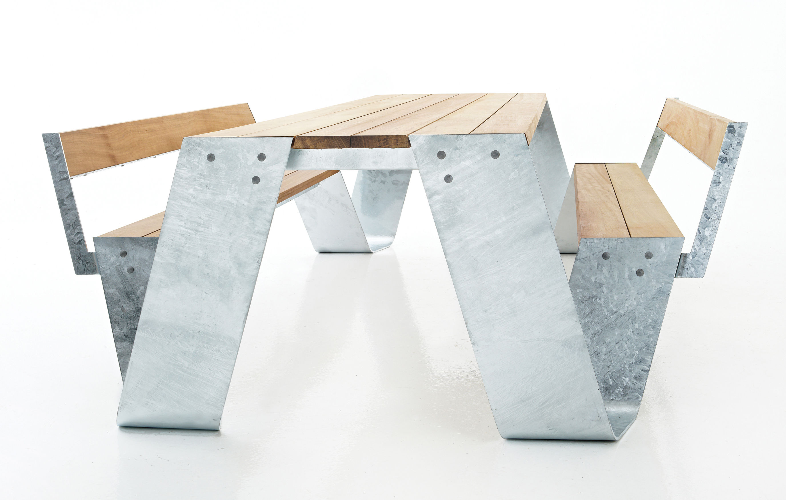 Hopper Set Table Amp Benches Galvanized Steel Wood By
