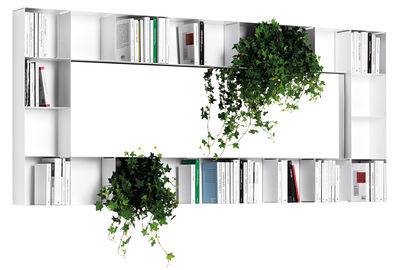 Arredamento - Scaffali e librerie - Specchio murale Bel.Vedere - / Libreria - 212 x 94 cm di Opinion Ciatti - Bianco - metallo laccato