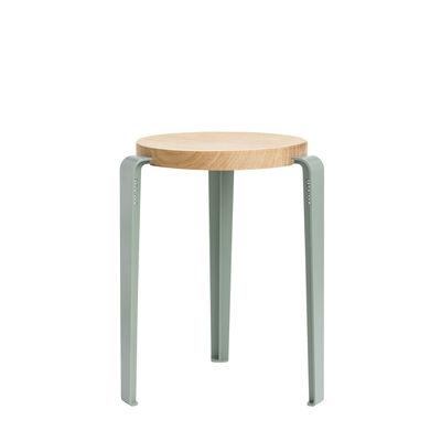 Möbel - Hocker - Lou Stappelbarer Hocker / H 45 cm - Stahl & Eiche - TIPTOE - Eukalyptus-grau / Eiche - massive Eiche, thermolackierter Stahl