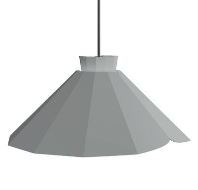 Luminaire - Suspensions - Suspension Ankara Plate / Ø 34 x H 16 cm - Matière Grise - Gris / Câble gris - Acier laqué