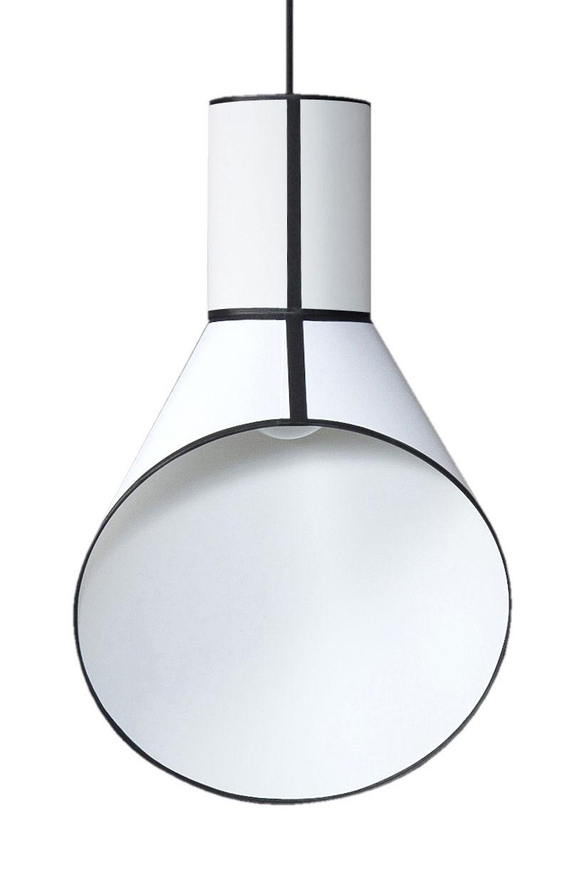 Luminaire - Suspensions - Suspension Petit Cargo H 67 cm - Designheure - Cylindre blanc / Cheminée blanche - Acier, Percaline de coton, PVC