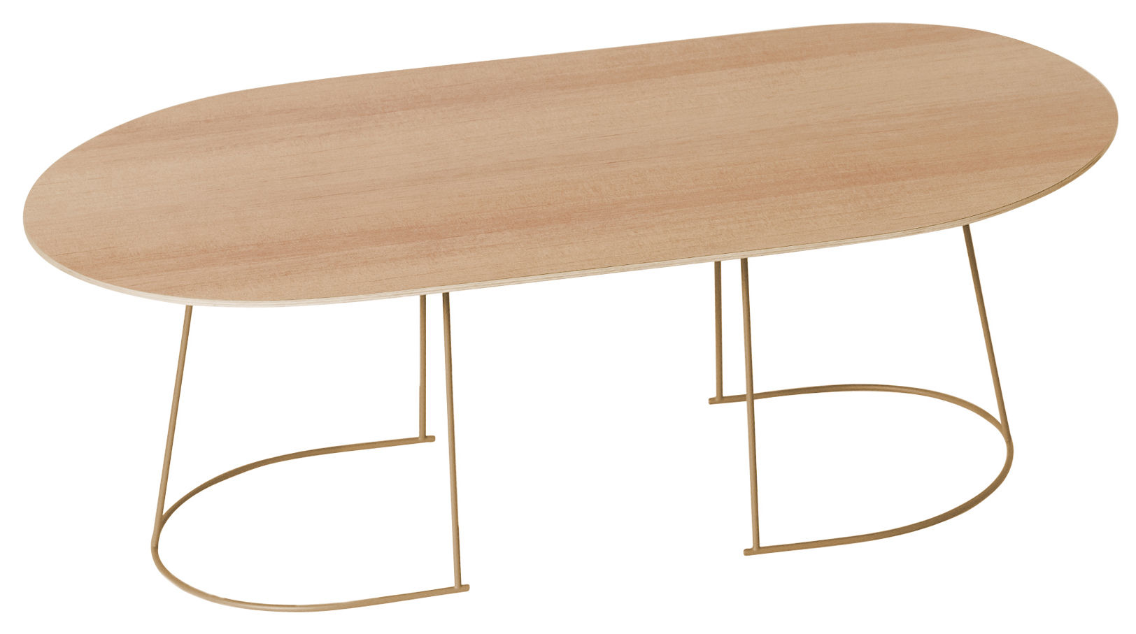 table basse airy large 120 x 65 cm pin naturel pied or muuto. Black Bedroom Furniture Sets. Home Design Ideas