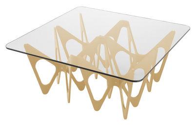 Table basse Butterfly / Carrée - 90 x 90 cm - Zanotta bois naturel en verre/bois