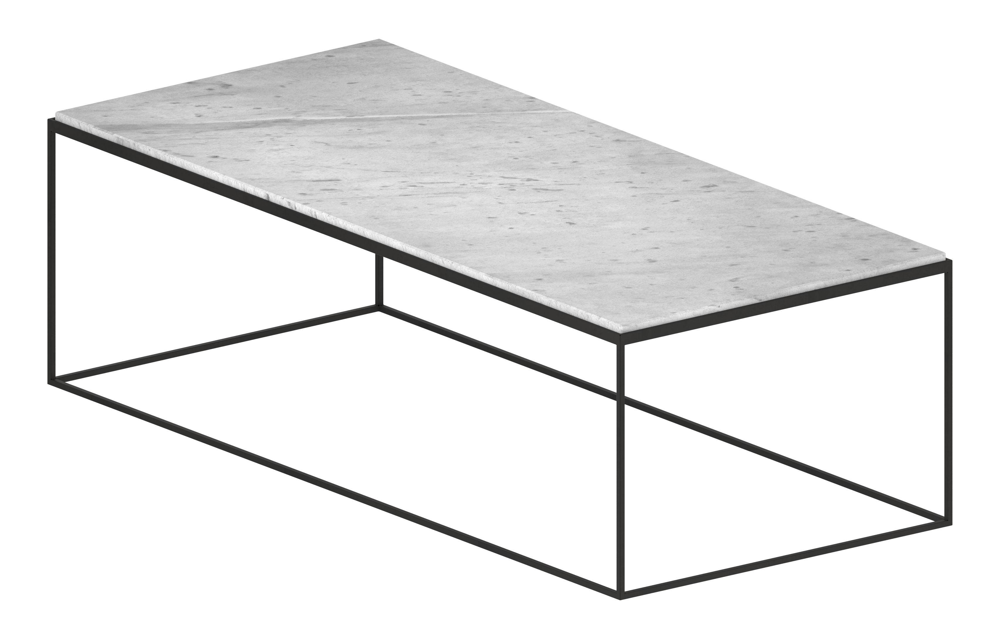 Mobilier - Tables basses - Table basse Slim Marbre / 118 x 53 x H 36 cm - Zeus - Large / Marbre blanc - Acier peint époxy, Marbre de Carrare