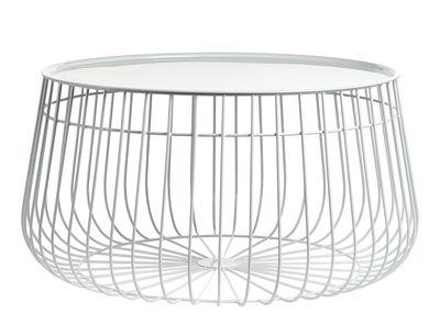 Table basse Wire / Plateau amovible - Ø 62 x H 35 cm - Pols Potten blanc en métal