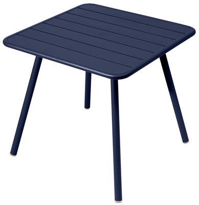 Jardin - Tables de jardin - Table carrée Luxembourg / 80 x 80 cm - 4 pieds - Fermob - Bleu abysse - Aluminium laqué