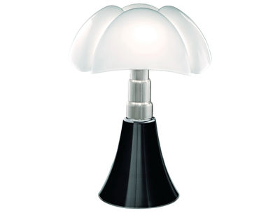 Lighting - Table Lamps - Pipistrello Table lamp - H 66 to 86 cm by Martinelli Luce - Shiny black - Galvanized steel, Lacquered aluminium, Opal methacrylate
