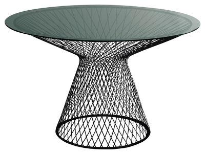 Table ronde Heaven / Ø 110 cm - Emu noir en métal/verre