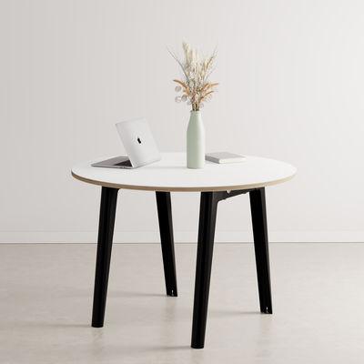 Table ronde New Modern / Ø 110 cm - Stratifié / 4 à 6 personnes - TIPTOE noir en métal/bois