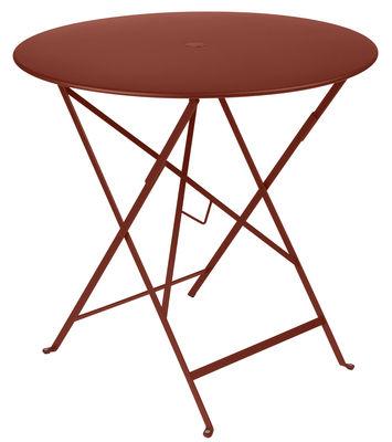 Outdoor - Tavoli  - Tavolo pieghevole Bistro - / Ø 77cm - Foro per parasole di Fermob - Ocra rossa - Acciaio laccato