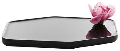 Image of Vaso Plan / Vaso piatto in ceramica - Small - 24 x 15 cm - Moustache - Nero - Ceramica