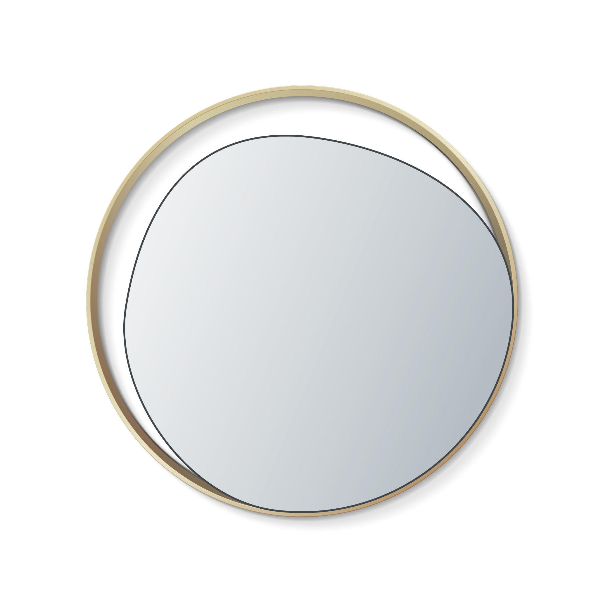 Decoration - Mirrors - Ellipse Wall mirror - / Ø 50 cm by RED Edition - Silver mirror / Brass - Brass, Glass, Wood