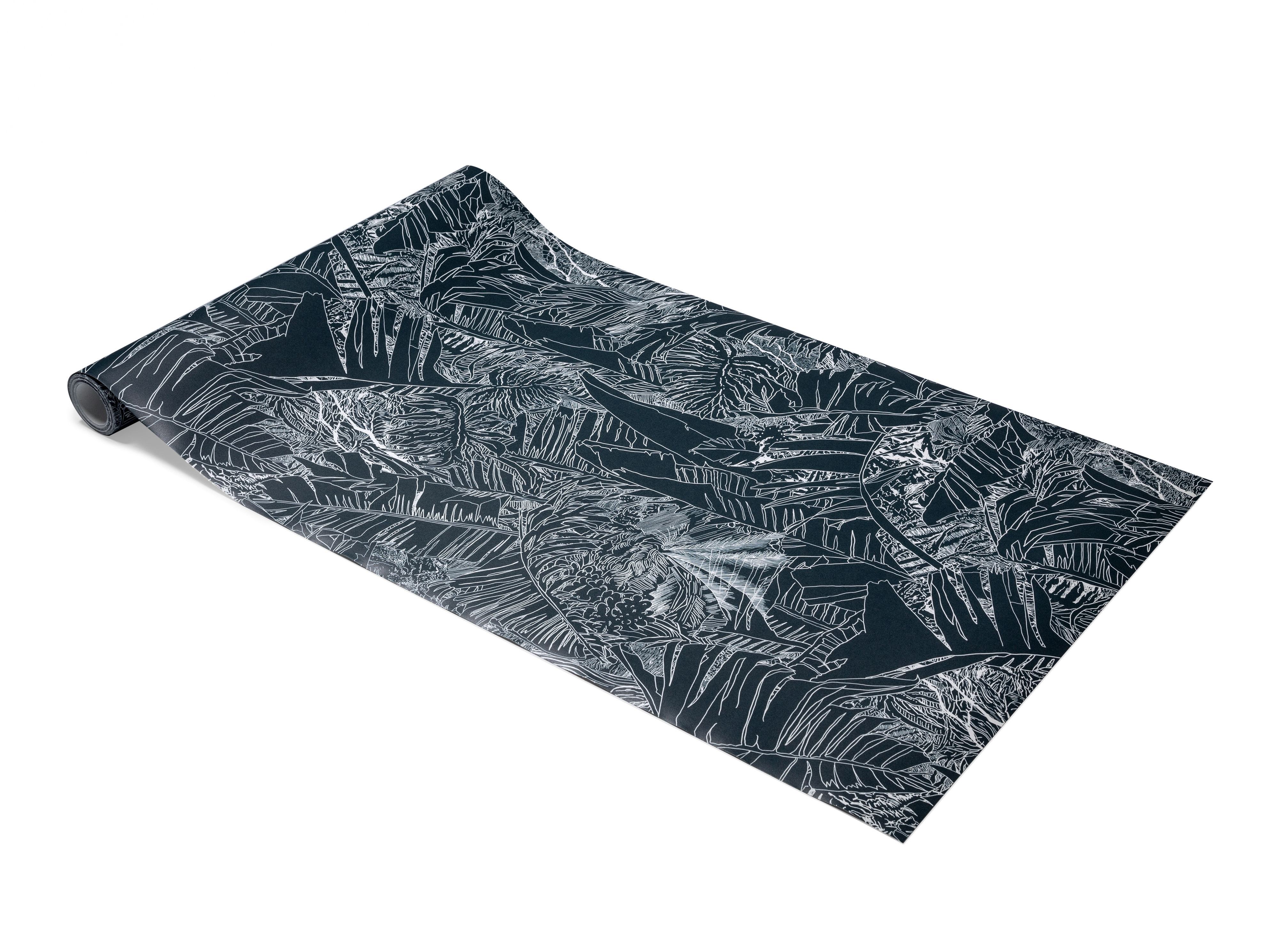 Decoration - Wallpaper & Wall Stickers - Jungle Wallpaper - 1 roll - W 70 cm by Petite Friture - White on black - Intisse paper