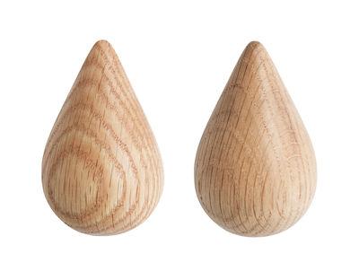 Arredamento - Appendiabiti  - Appendiabiti Dropit - Small set da 2 - H 7,7 cm di Normann Copenhagen - Naturale - Small / H 7,7 cm - Legno