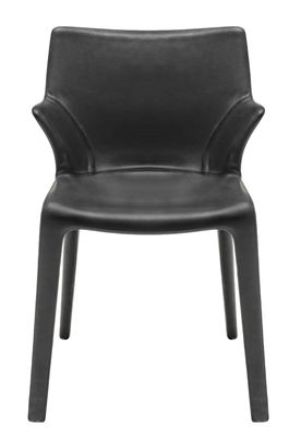 Furniture - Chairs - Lou Eat Armchair - / Leather by Driade - Black leather - Leather