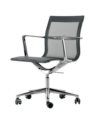 Office Chairs - Office chairs with castors - Una chair Armchair on casters - With castors - Knit seat by ICF - Graphite - Aluminium, Elastic knit