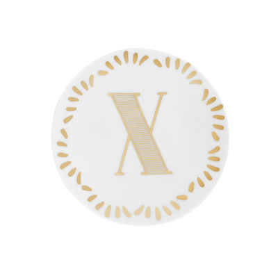 Arts de la table - Assiettes - Assiette à mignardises Lettering / Ø 12 cm - Lettre X - Bitossi Home - Lettre X / Or - Porcelaine
