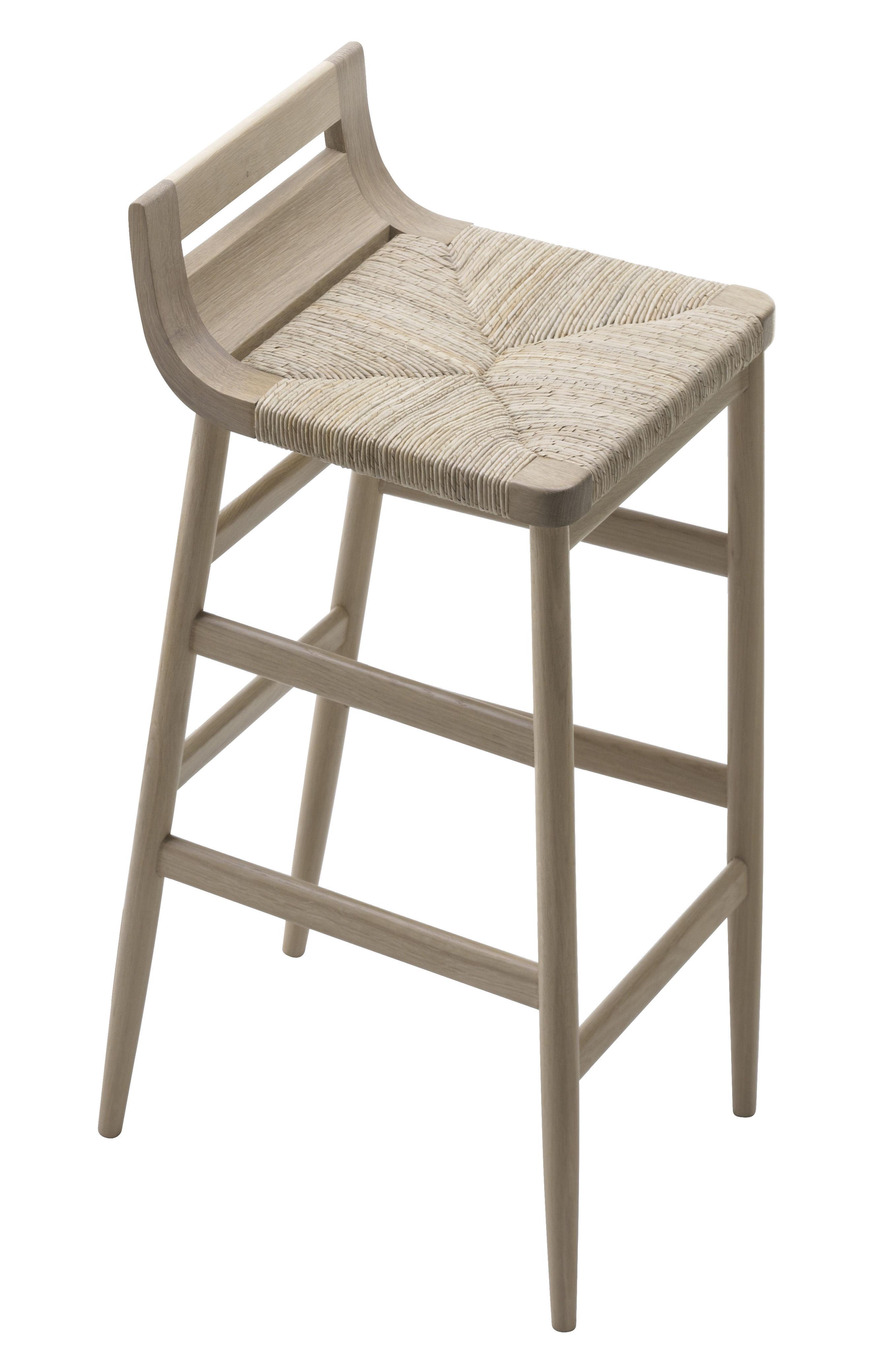 Furniture - Bar Stools - Kimua Bar stool - H 80 cm - Wood & straw by Alki - Natural oak - Solid oak