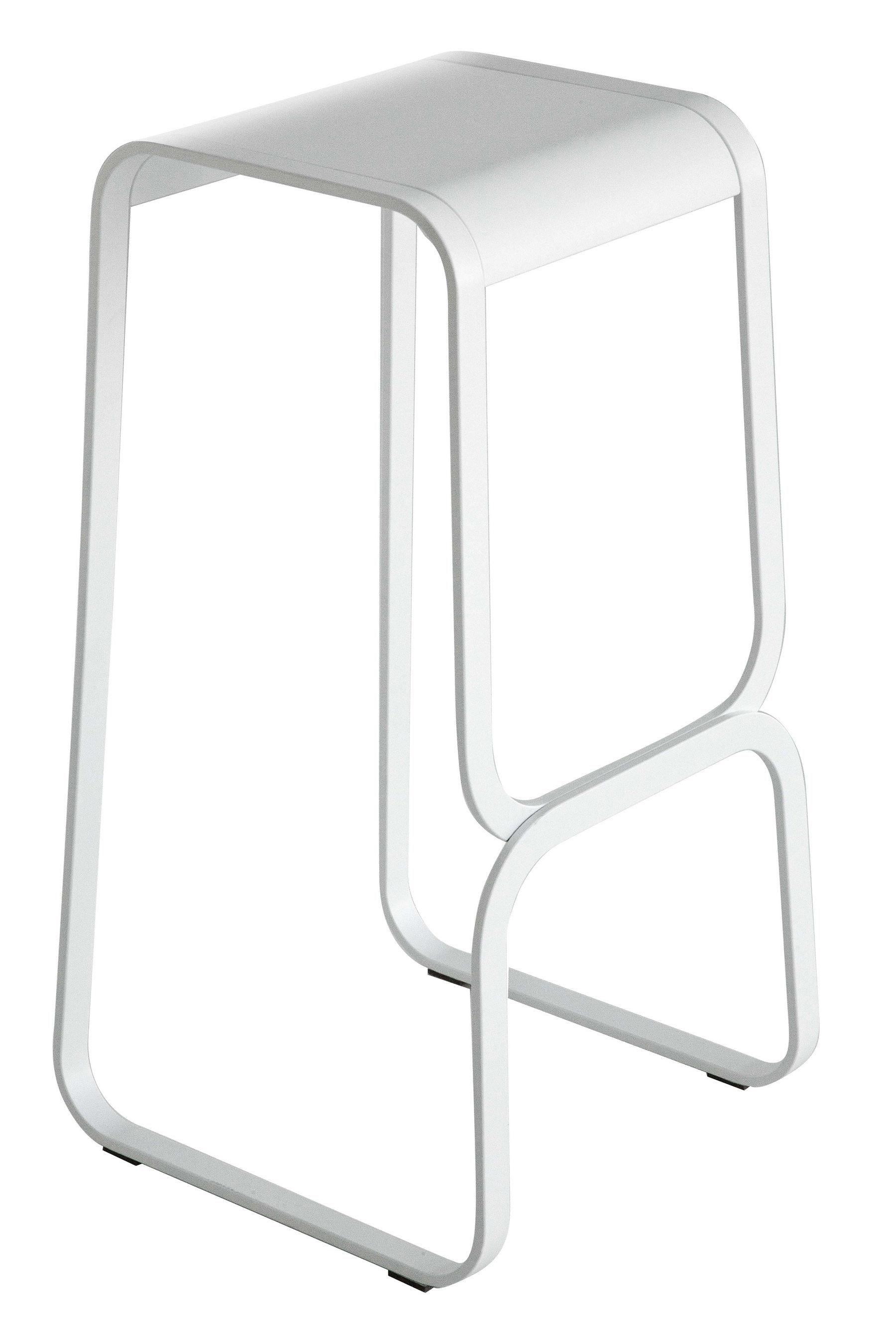 Möbel - Barhocker - Continuum Barhocker / Holz & Metall - H 80 cm - Lapalma - Sitzfläche: weiß / Gestell: weiß - Multiplis de bois teinté, rostfreier lackierter Stahl