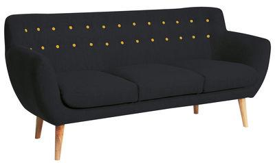 Canapé droit Coogee / 3 places - L 181 cm - Sentou Edition noir,jaune citron en tissu