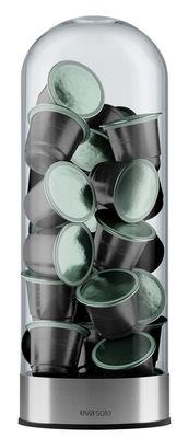 Tableware - Tea & Coffee Accessories - Coffee capsules dispenser by Eva Solo - Transparent / Chrome - Aluminium, Glass, Silicone