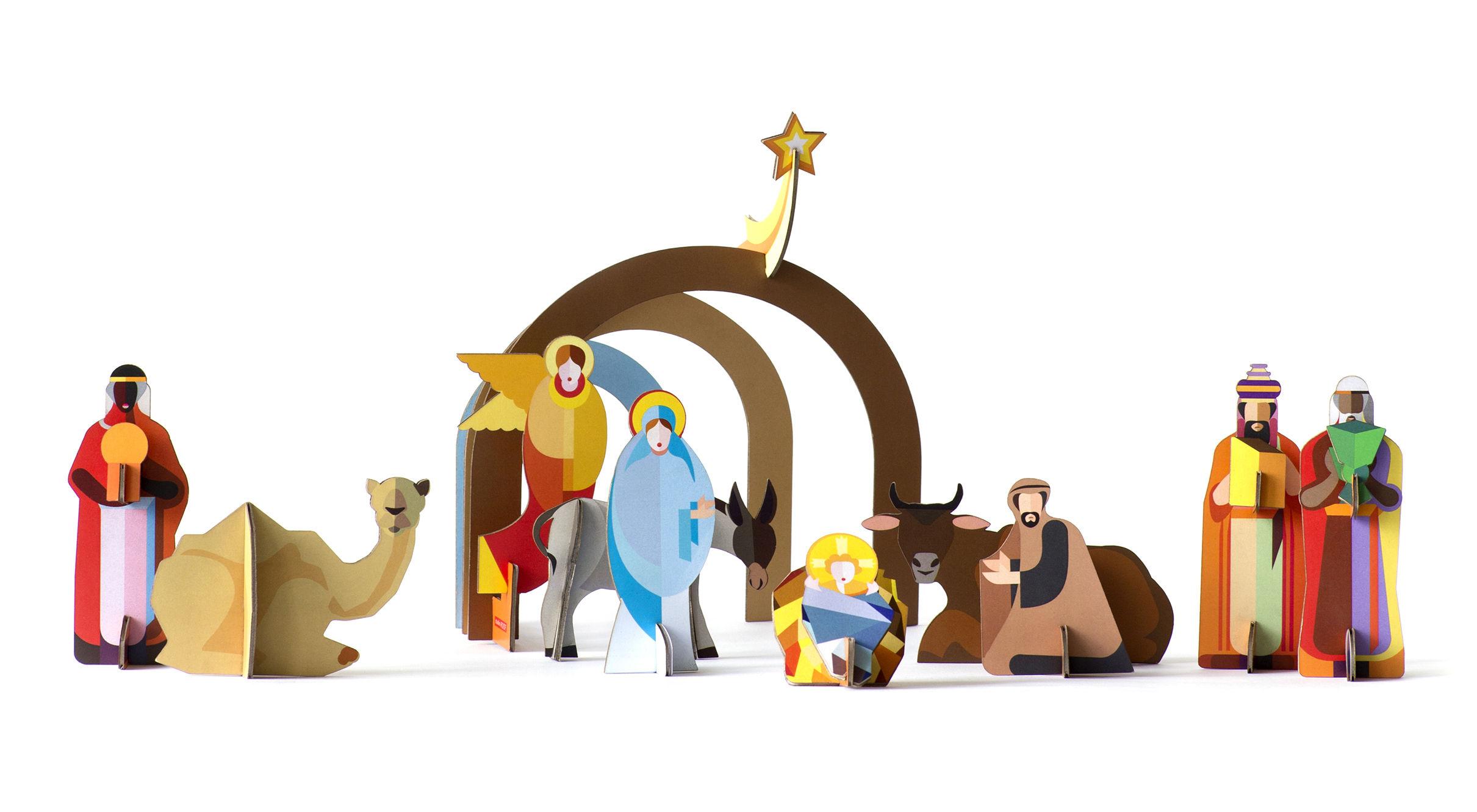 Déco - Pour les enfants - Crèche à construire / Carton - 10 personnages - studio ROOF - Multicolore - Carton recyclé