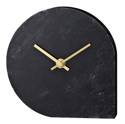 Decoration - Wall Clocks - Stilla Desk clock - Marble - H 16 cm by AYTM - Noir / Gold - Golden metal, Marble