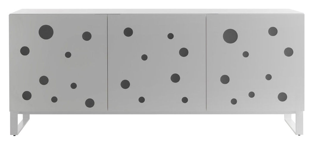 Furniture - Dressers & Storage Units - Polka Dots Dresser - LED light / L 192 x H 82 cm by Horm - White - Bleached beechwood, Lacquered metal, Methacrylate