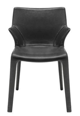 Mobilier - Chaises, fauteuils de salle à manger - Fauteuil Lou Eat / Cuir - Driade - Cuir noir - Cuir