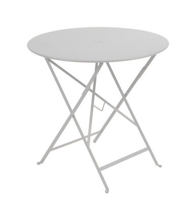 Outdoor - Garden Tables - Bistro Foldable table - Ø 77cm - Foldable - With umbrella hole by Fermob - Steel grey - Lacquered steel