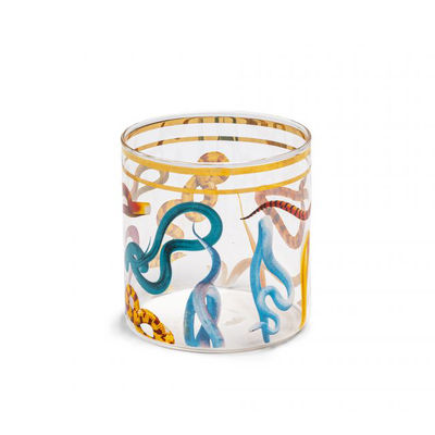Tableware - Wine Glasses & Glassware - Toiletpaper - Snakes Glass - / H 8.5 cm by Seletti - Snakes - Borosilicated glass, Vegetable wax